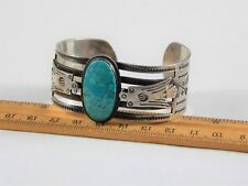 Exceptional Vintage Sterling Silver Native American Turquoise Bracelet Unmarked