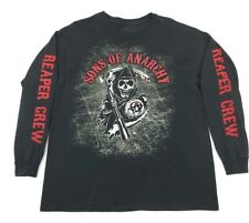 Sons Of Anarchy Reaper Triple Print Black Long Sleeve T-Shirt Size XL