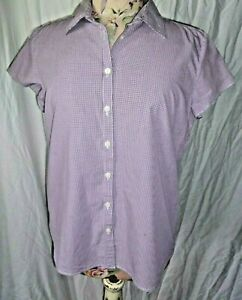 Sportscraft mauve check cotton shirt blouse size 10