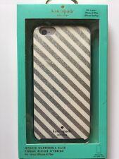 Kate Spade NY iPhone 6/6S PLUS Hybrid Hardshell Case Diagonal Stripe Silver NEW