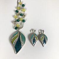 Kenneth Cole Necklace Pierced Earring Set Rhinestone Leaf Green Silvertone