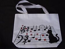 Cat on Music Staff Tote Bag 17 x 11.5 White Canvas Great Gift So Cute Brand NEW