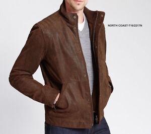 M&S NORTH COAST Men's Genuine Leather Biker Jacket  PRP £179