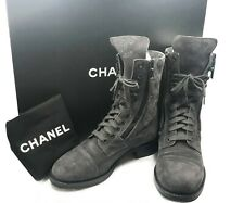 Chanel Classic Grey Suede Military Leather Lace Up High Boots 37