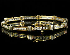 ZALES FINE ROUND NATURAL 3.0ctw DIAMOND 14K TWO TONE GOLD TENNIS LINE BRACELET