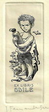 Junge Exlibris J. Fernandez Saez / Odile C2 #150 1959 Boy Auto Sunglasses c2