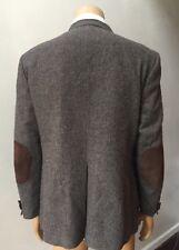 Elbow Patch Men's Suede Retro Tweed 2 Button Brown Jacket Sports Coat Size 44L