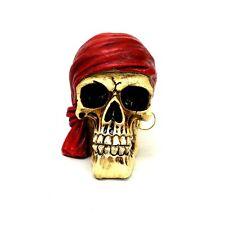 "Pirate Skull Statue with Red Bandana Small Skeleton Halloween Figurine 3"" tall"