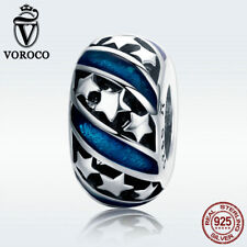 Voroco 925 Sterling Silver Blue Charm Bead Bright Star Fit Mysterious Lady Chain