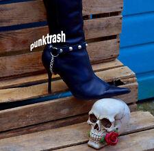 Uni Sexo Cónica Con Tachas Bota De Cuero Correa Punk Rock Gótico Emo Gothic Broche De Metal