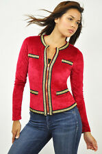 New Women's CARMIN Fashion Velour Knit Jacket Double Gold Chain Small Wine