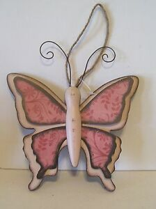 PINK & BLACK METAL & WOOD 6 INCH BUTTERFLY SPRING SUMMER ORNAMENT DECORATION