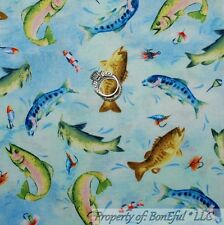 BonEful Fabric Cotton Quilt Blue Red Fly Fish Men Water Trout Lure 99 SALE SCRAP