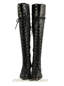 Black Leatherette Hip n Cool Urban Over the Knee Thigh High Lace Up Flat Boots