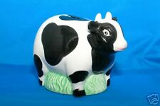 COW BANK Black & White Ceramic Cow standing in grass