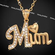 MAMMA cuore collana gioielli d'oro Cristallo Ciondolo Xmas Regali per la madre MOM