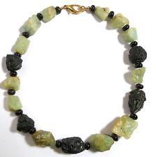 Damenkette Halskette Collier 42 cm Natursteinen Jade Onyx