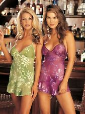 Shirley of Hollywood Women 18 20 22 Silk Green Chemise and G-String Designer
