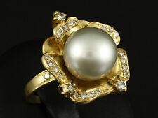 Brillant Ring mit großer Südsee Perle -Schimmelpfeng-   18,9g 750/- Gelbgold