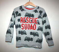 Toddler Boys Gap Fire Trucks Rescue Squad Gray Pullover Sweater 4T 4 Years