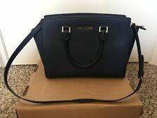 Michael Kors Studio Navy Leather Selma Satchel Bag Purse