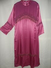 Black Pink Blue Beaded Formal Eid Evening Abaya Maxi Long Dress Size M