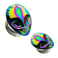 BYB Plugs Pair of Matte and Rainbow Tail Glass Spiral Ear Hanger Tapers