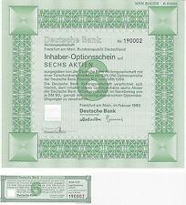 2x deutsche bank opción billete sobre acciones 6 u.1 acción 1986