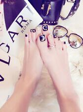 24 x Cool Black Star Moon Girls Fashion Full Cover Fake False Toenails Nails Tip