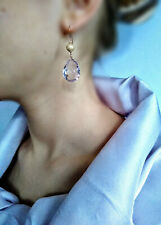 GENUINE PINK AMETHYST 14k SOLID GOLD TEARDROP BRIOLETTE GEM Earrings HANDMADE