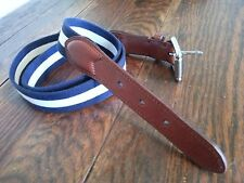 Polo Ralph Lauren Belt Navy & White Leather Buckle Striped Size 38