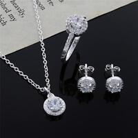 fashion women lady wedding 925 silver crystal necklace earring ring jewelry set