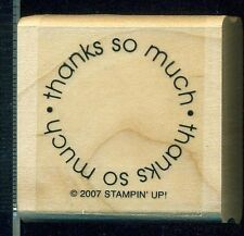 STAMPIN UP Mounted Rubber Stamp THANKS SO MUCH Unused Scrap Booking Art Projects