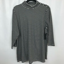 d0f3ea35742 Kim Rogers Curvy Black White Striped 3 4 Sleeve Turtleneck Knit Top Size 1x
