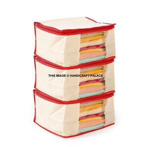 3 x Saree Bags Large Storage Garment Lehnga Dress Cover Suit Wardrobe organiser