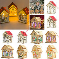 Mini Wooden House Christmas Pendants with Light New Year Party Ornaments Decor