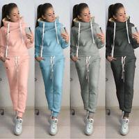 2PCS Set Women Hooded Sweatshirt Long Sleeve Sport Tops+Long Pants Clothes Suit