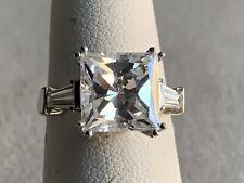 Vintage 14 Karats White Gold Emerald Cut Cz Engagement Ring Stunning