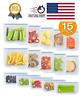 Reusable Food Storage Silicone Bags Leak-Proof Fresh Ziplock Produce Bag 15 Pack