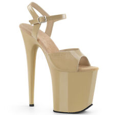 Pleaser FLAMINGO-809 Women's Cream Patent High Heel Platform Ankle Strap Sandals