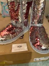 UGG SEQUIN BLING MERMAID SILVER PINK SPARKLE BOOTS CLASSIC SHORT 8 NIB