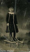 Vintage Strange Tintype Photo of Young Girl with Sledge Rope on her Neck