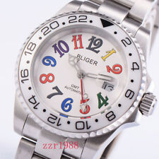 Bliger 40mm white dial Luminous Automatic Mens Watch date sapphire crystal