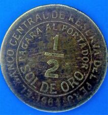 Moneda de Perú, 1/2 sol de oro 1964 (escasas)
