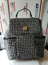 Tommy Hilfiger Women Black White Flap Backpack Medium Shoulder Bag Purse