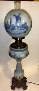 """Antique 1895 American made Oil Lamp Dutch Scene Converted to Electric 32"""""""
