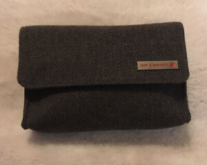 Air Canada Business Class Amenity Kit Gray Tweed Soft Toiletry Magnet Bag Clutch