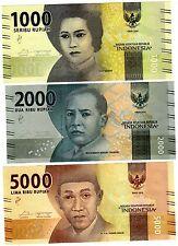 LOT SET SERIE 3 BILLETS Indonesie INDONESIA RUPIAH 2016 PNL NEW NOUVEAU NEUF UNC