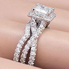14K WHITE GOLD PRINCESS CUT DIAMOND ENGAGEMENT RING AND BAND SET HALO 1.50CT