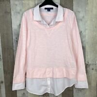 Tommy Hilfiger Womens Size Medium Popover Layered Top Pink Long Sleeve Collared